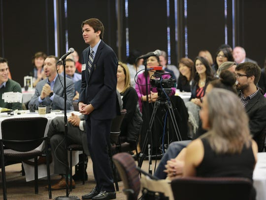 """Coronado High School student Jordan McGill asks a question of a panel on """"Policy and Population: Educating the New Demographic Majority"""" on Friday at the Texas Tribune Symposium on Urban Public Education."""