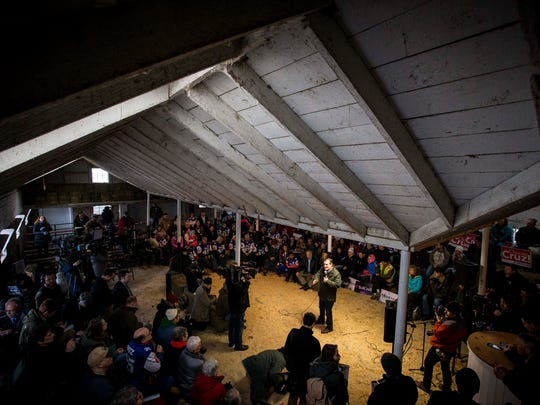 Republican presidential candidate U.S. Sen. Ted Cruz holds an event at High Point Bulls Oswald Barn near Osceola, Iowa, at 9:42 a.m. Tuesday Jan. 26, 2016.
