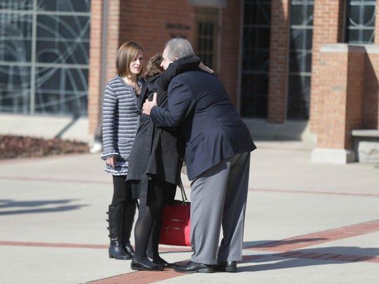 Mourners gathered at St. Luke United Methodist Church for the visitation of  Amy Beverland Principal Susan Jordan on Friday January 29, 2016.