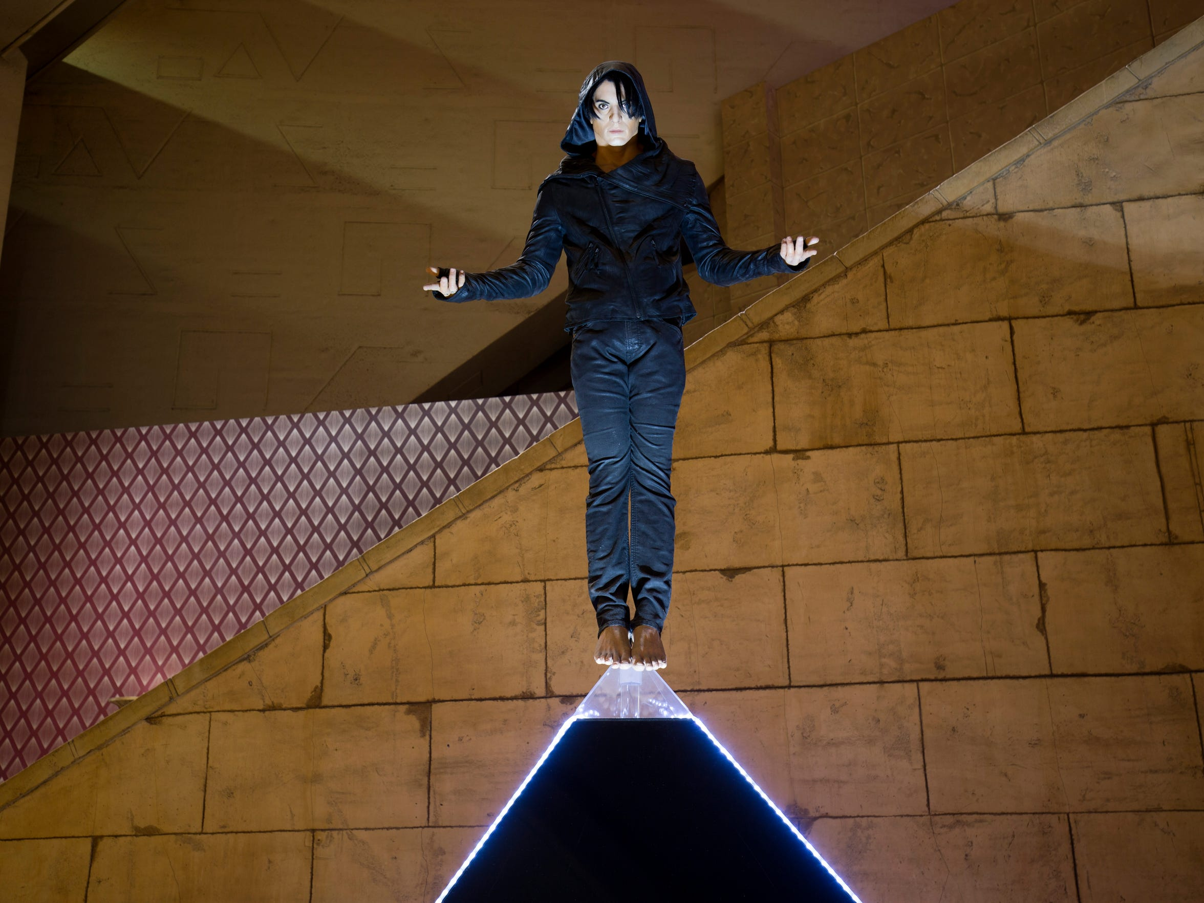 A figure of magician Criss Angel is displayed. Angel, in partnership with Cirque du Soleil, performs his show 'Believe' at the Luxor.