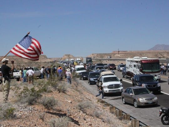 Bundy supporters block Interstate 15 between Bunkerville and Mesquite on April 12, 2014.