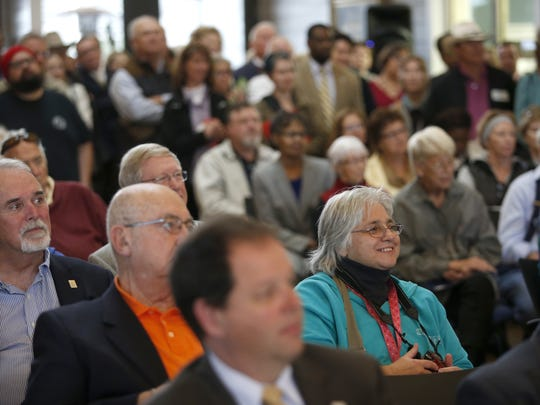 A crowd listens to speakers Monday announcing the opening of TCC's new Wakulla Environmental Institute facility in Wakulla County.