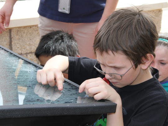 A student from North Elementary studies how water can be collected through various methods at the Brackish Groundwater National Desalination Research Facility on Friday.