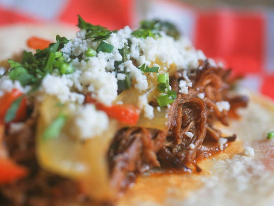 Machaca tacos from Manny & Merle on West Main Street in downtown Louisville.  Feb. 22, 2016