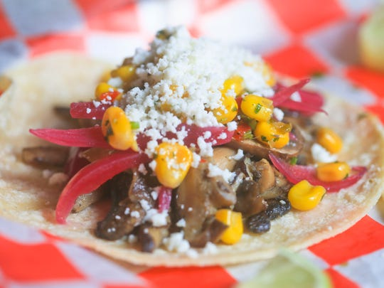 Wild mushroom tacos from Manny & Merle on West Main Street in downtown Louisville.  Feb. 22, 2016