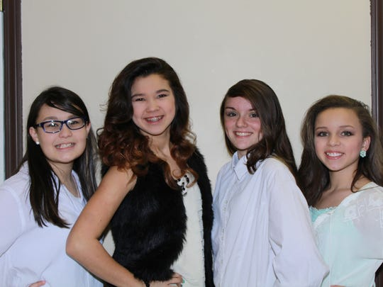 Teen Miss Houston County contestants, form left, Allie Steele, Gracie Evans, Hermoine Wilson, Arianna Tyler.