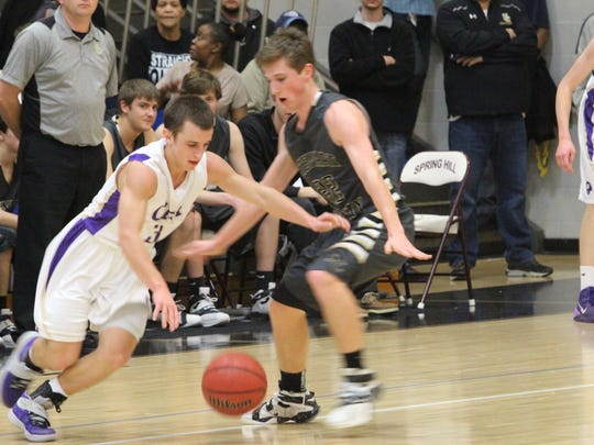 CPA's Michael Mayernick (3) tries to dribble past Stewart