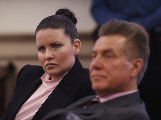 Vanessa Brown and defense attorney Edward Bilinkas looks on during the prosecutions redirect on day two of the aggravated manslaughter trial of Brown in Morris County Superior Court. She is charged with driving while drunk and striking and killing Ralph Politi in East Hanover in 2012. March 3, 2016. Morristown, N.J.