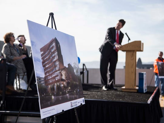 Phoenix Mayor Greg Stanton speaks to the crowd during the topping-off ceremony of the $136 million University of Arizona Biosciences Partnership Building in downtown Phoenix, on Thursday March 3, 2016.