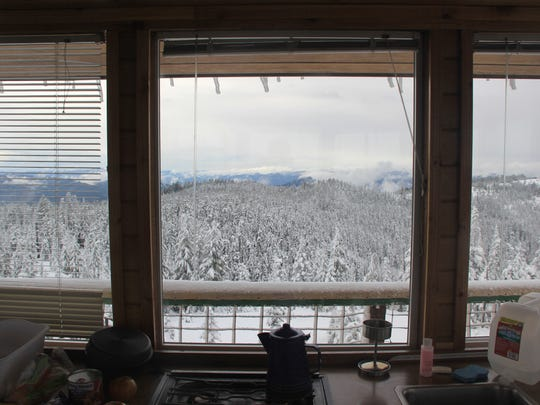 Views from inside Warner Mountain Lookout.