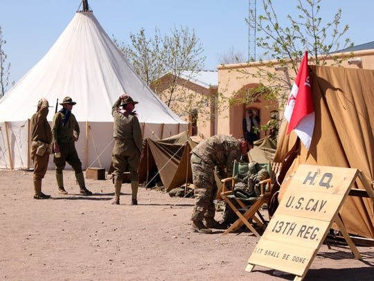 Re-enactors of the 13th Cavalry division staged and