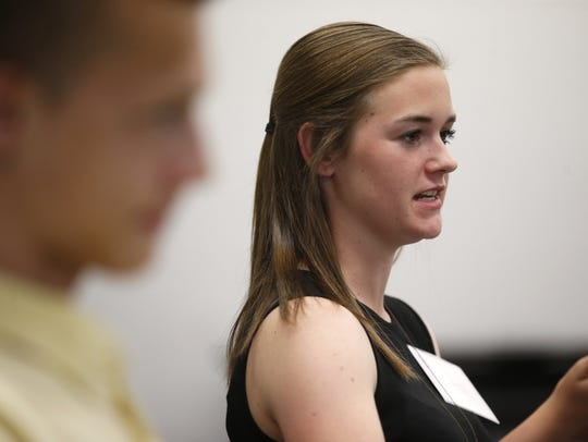 Emily Green speaks during the Young Voters Forum at