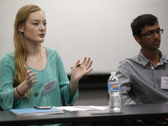 Samantha Edgar speaks during the Young Voters Forum