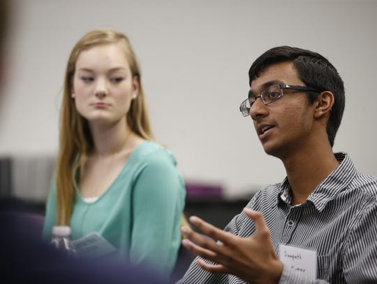 Sampath Kumar speaks during the Young Voters Forum