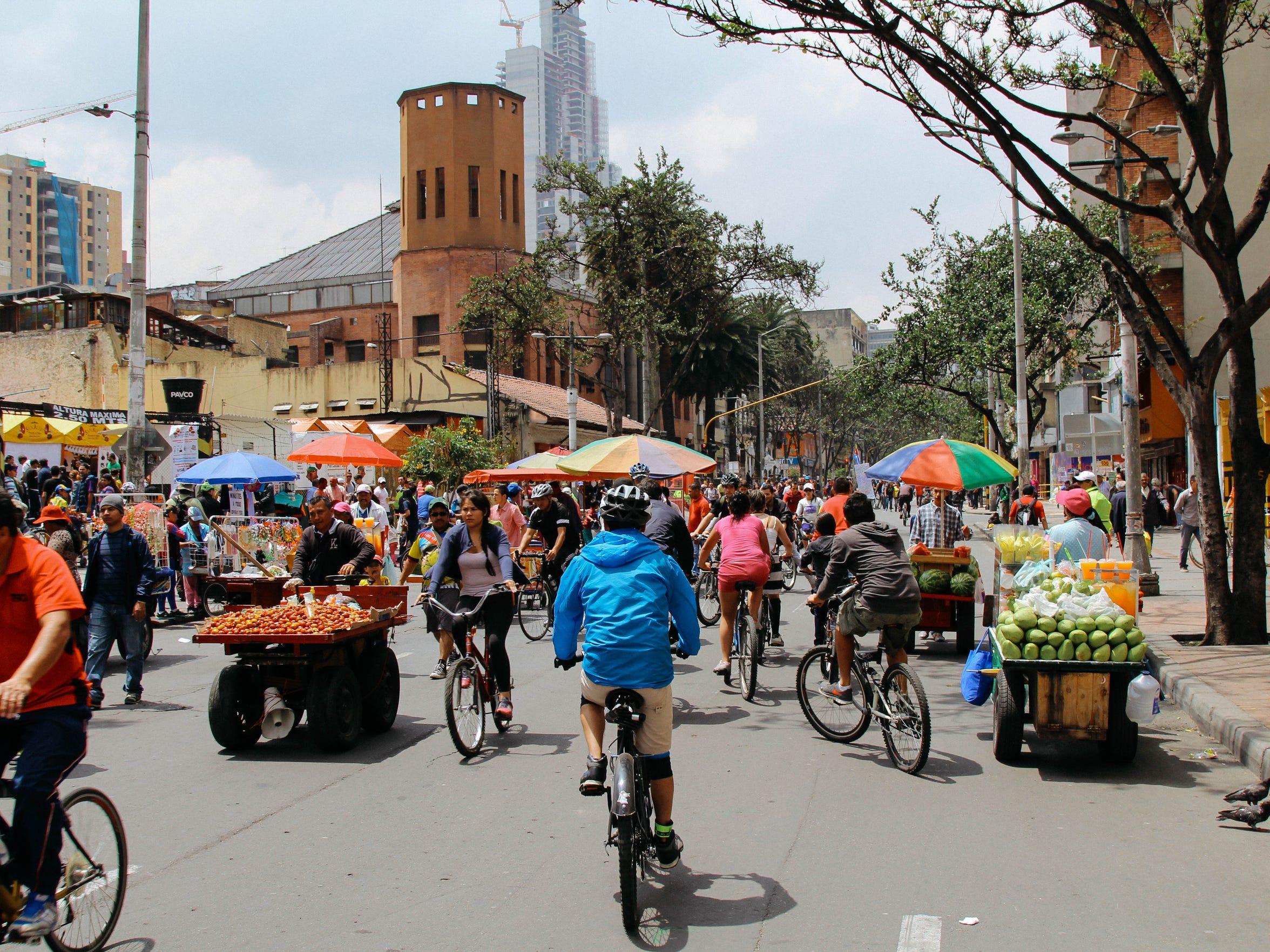 Bikers take to Carrera Séptima in downtown Bogotá.