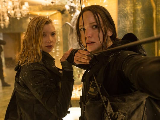 Cressida, left, (Natalie Dormer) and Katniss Everdeen