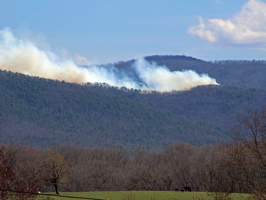 Fire burns at St. Mary's Wilderness on March 17, 2016.