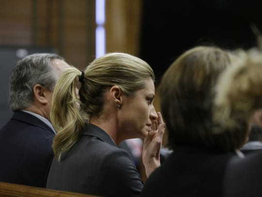 Sportscaster and television host Erin Andrews on Monday, March 7, 2016, in Nashville, Tennessee. A jury awarded Andrews $55 million in her lawsuit against a stalker who bought a hotel room next to her and secretly recorded a nude video, finding that the hotel companies and the stalker shared in the blame.