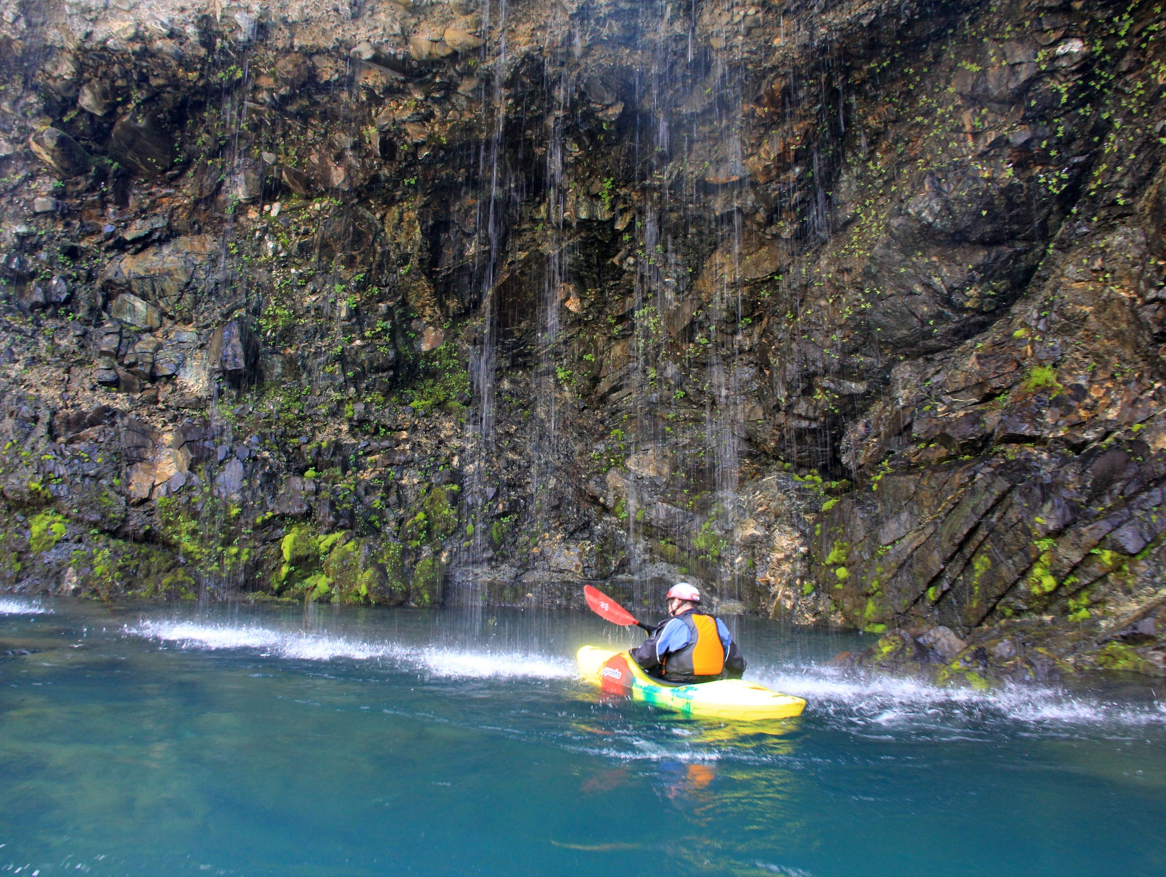 "Peter Gandesbery paddles into the ""Grotto"" on the North"