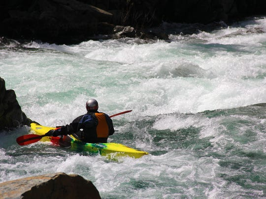 Peter Gandesbery navigates through Class IV Scout Rapid on the North Fork of the Smith River.