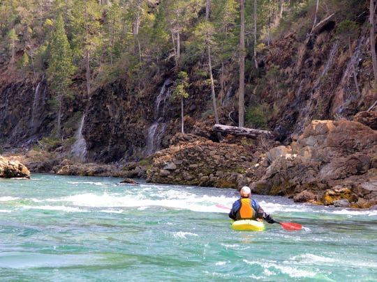 """Peter Gandesbery kayaks down """"waterfall ally"""" on the North Fork of the Smith River."""