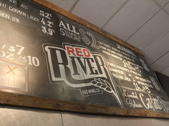 The beer menu at Red River Brewing Company.