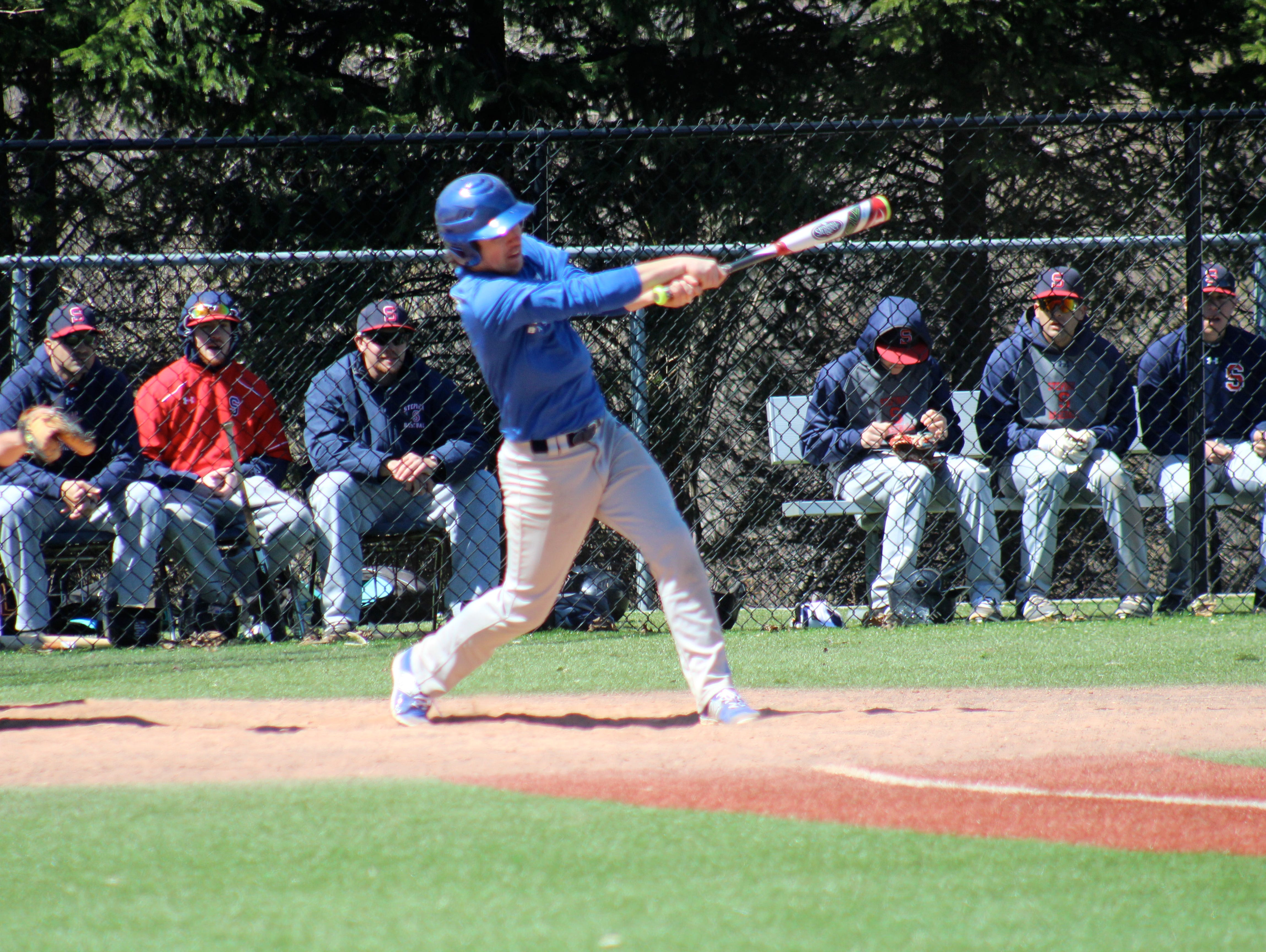 Dobbs Ferry's Chris Cipriano taking a swing during a game last season.