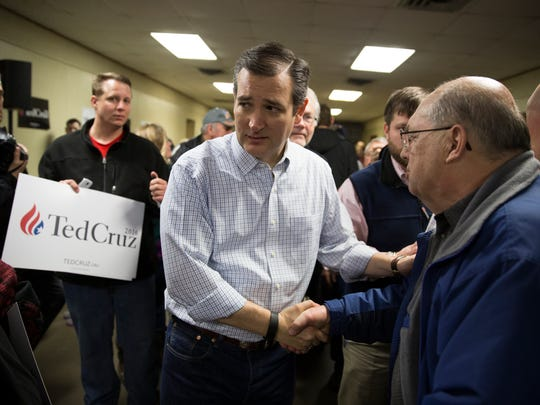 Republican presidential candidate Sen. Ted Cruz, R-Texas, shakes hands during a campaign event at Jackson Fairgrounds, on Monday, Jan. 25, 2016, in Maquoketa, Iowa.