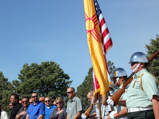 Members of the community and Demng High School JROTC color guard attended the ground breaking ceremony at Deming High School.