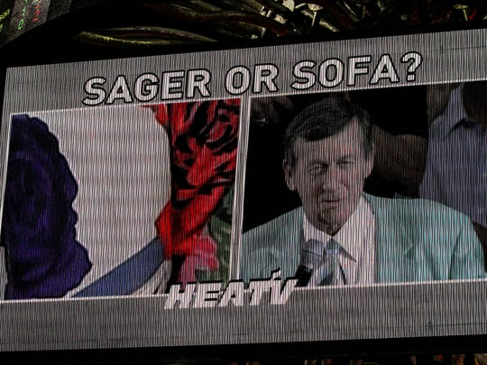 """Craig played a timeout game """"Sager or Sofa"""" where Craig had to pick from a photo to see if the fabric was one of his jackets or sofa fabric. Craig Sager, the eccentric TNT/TBS NBA sideline reporter began his broadcast career with WINK-TV in Fort Myers in the mid-1970s. HeÕs now renewing his very public battle against leukemia while still working NBA games. He worked the Chicago Bulls at Miami Heat game on Thursday, April 7, 2016."""