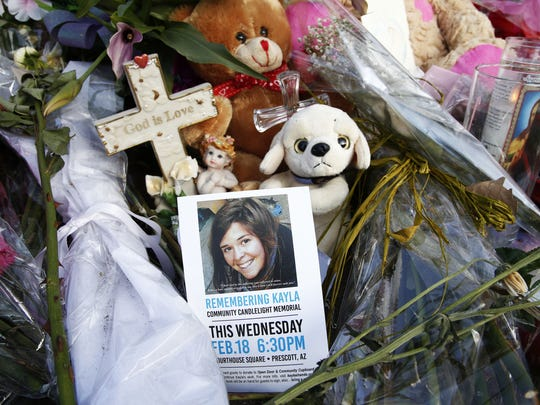 Candlelight memorial in honor of Kayla Mueller on Wednesday, Feb. 18, 2015, in Prescott.
