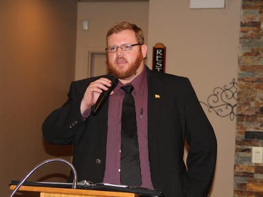 Attorney John P. Sugg, R, is running against the incumbent