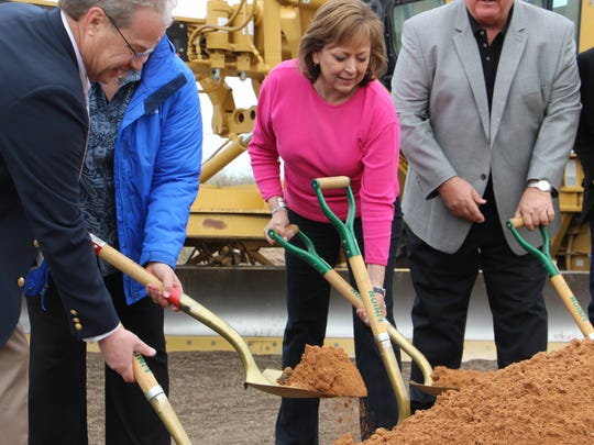 Gov. Susana Martinez and New Mexico state officials dig up dirt to introduce the upcoming US 285 road repair project.