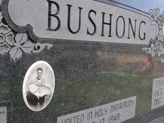 Marvin Bushong's record bass is part of his grave stone