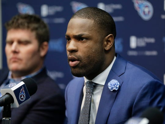 Tennessee Titans running back DeMarco Murray, right, speaks at a news conference with general manager Jon Robinson Thursday, March 10, 2016, in Nashville, Tenn. The Titans acquired Murray in a trade with the Philadelphia Eagles. (AP Photo/Mark Humphrey)