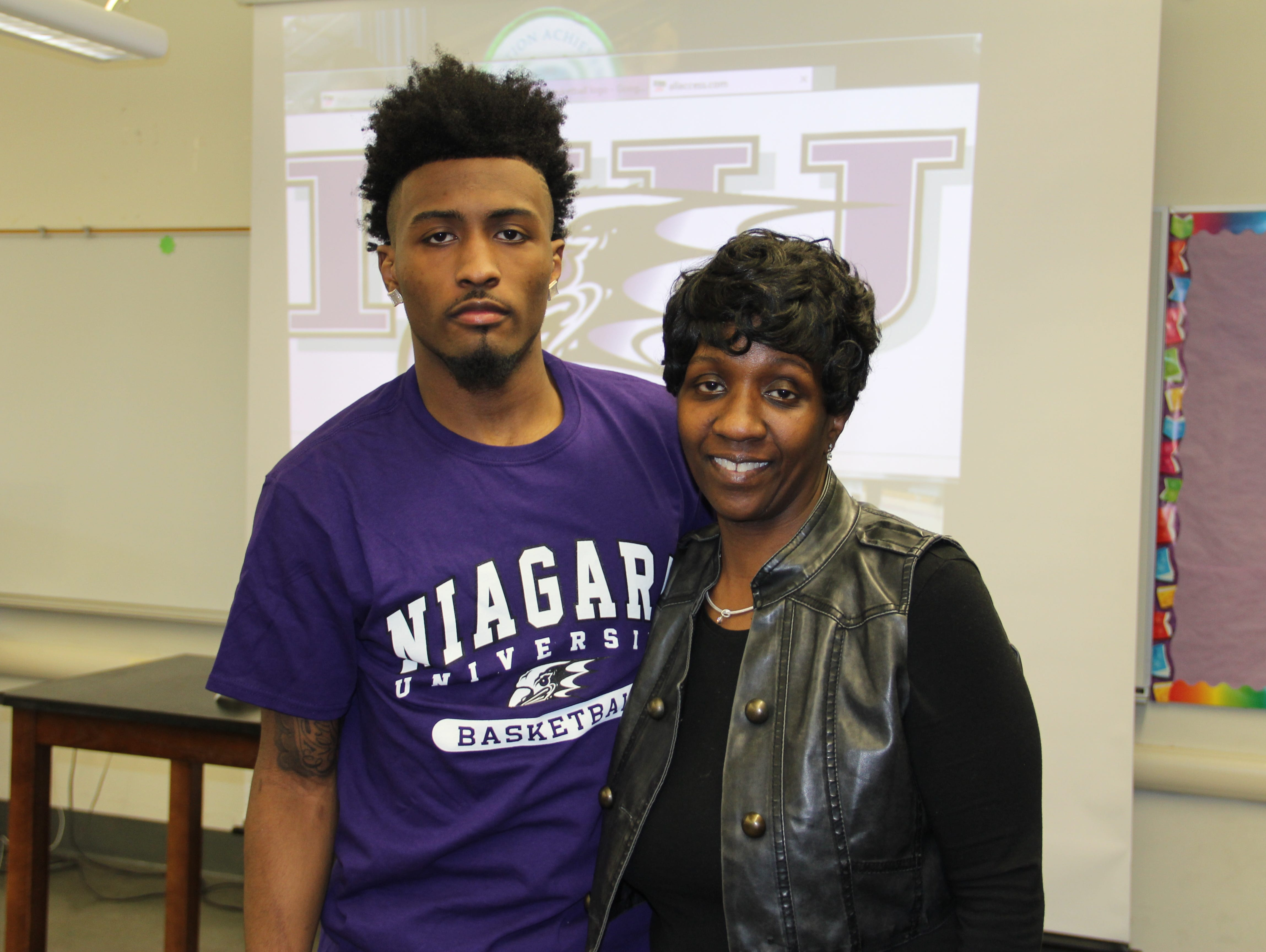 James Towns (left) and his mother Kim Fountain on Wednesday, April 13, 2016.