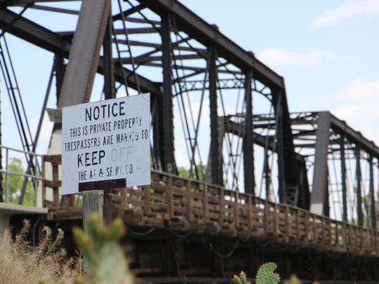 Train bridge by the Pecos River.