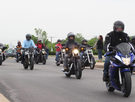 Bikers kick off the annual SHARP ride Friday at Fort