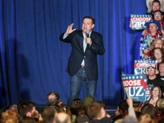 Sen.Ted Cruz speaks to a crowd during an event Monday night at the Indiana State Fairgrounds.