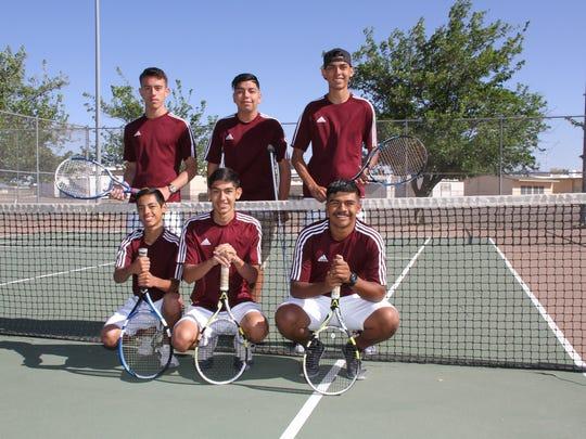 The Wildcat tennis team is, clockwise from top left, Isaac Villegas, Bryan Campos, Elias Vigil, Miguel Lopez, Alex Villa and Elijah Castro.