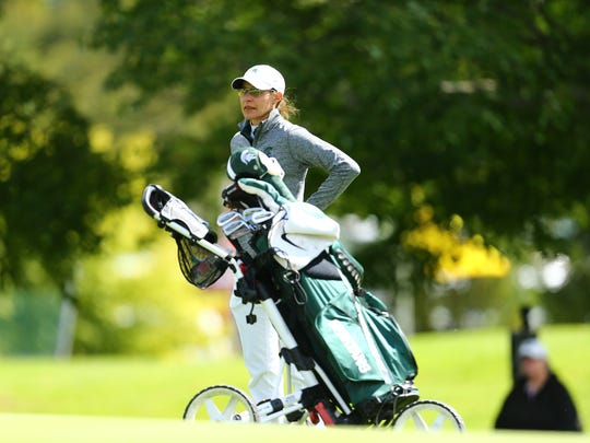 Stacy Slobodnik-Stoll and her MSU women's golf team are tied for fourth place after the first day of the NCAA women's golf regional at Forest Akers West in East Lansing.