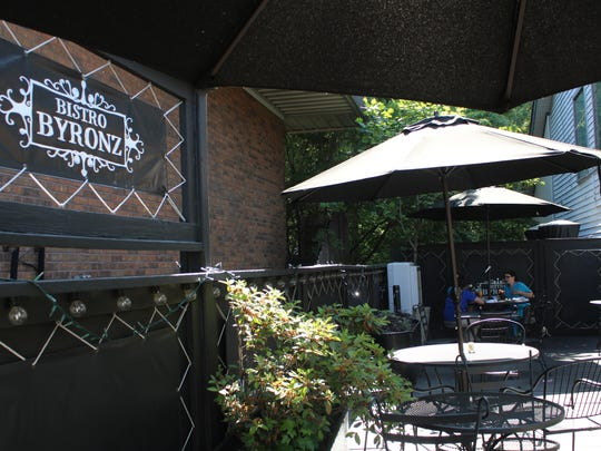 Bistro Byronz's patio is tucked away on the side of