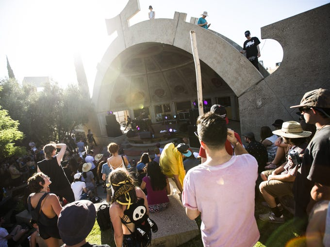 The crowd listens during FORM Arcosanti on May 13,