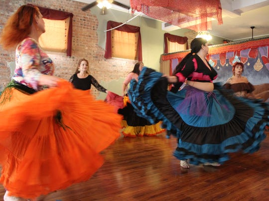 Gems of Cairo rehearse a Louisiana belly dance routine.