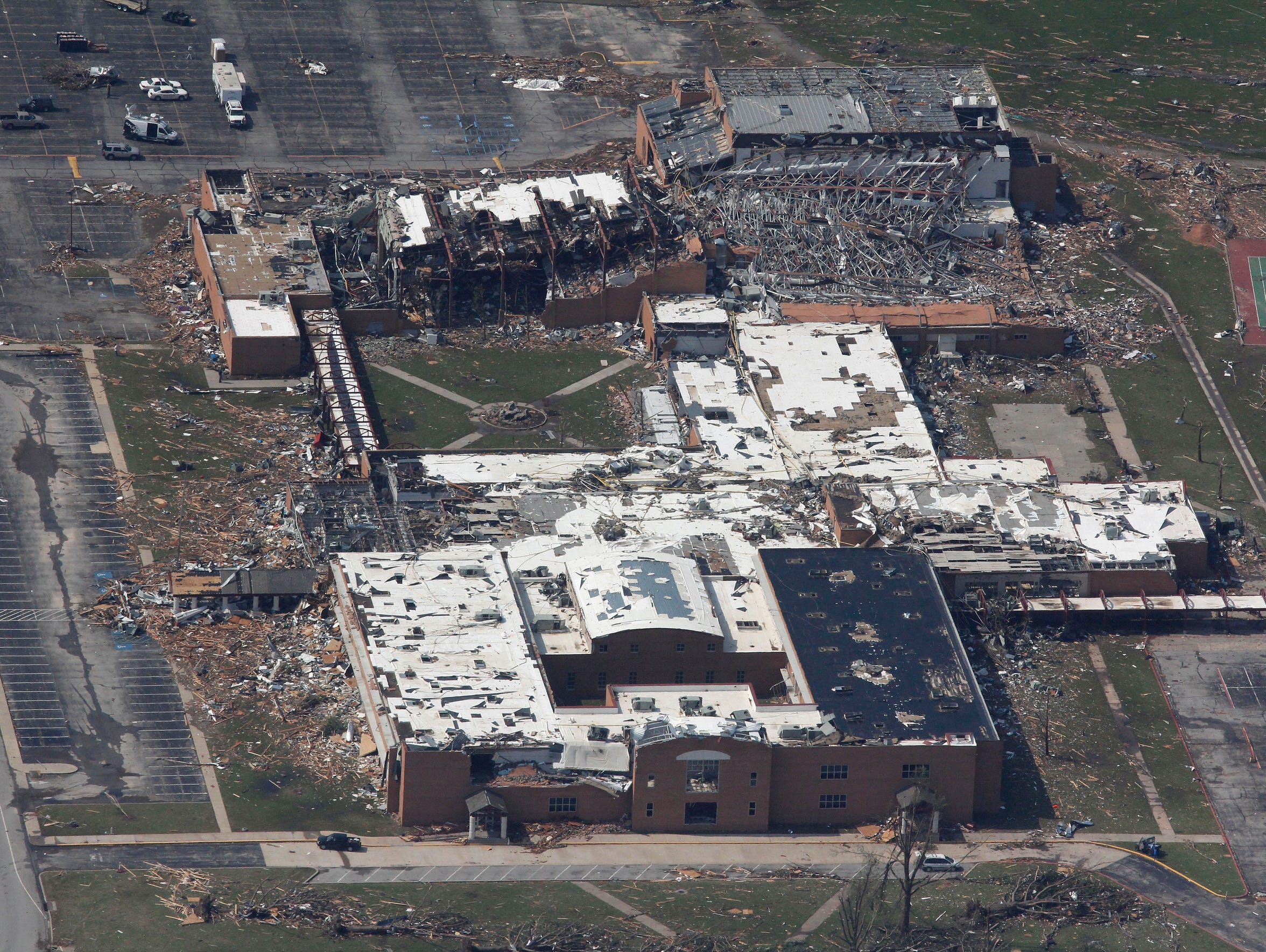 An aerial view of tornado damage at Joplin High School