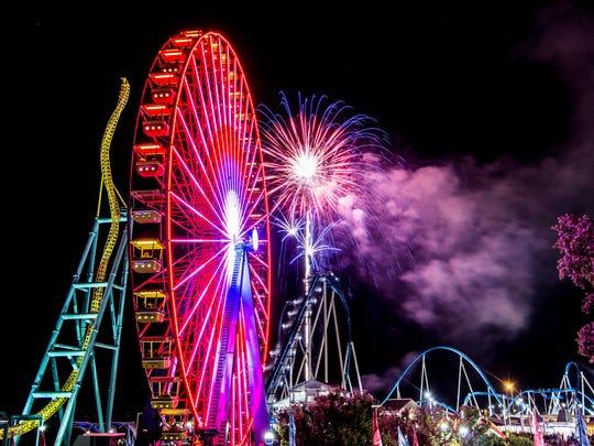 Cedar Point in Sandusky, Ohio, at night.