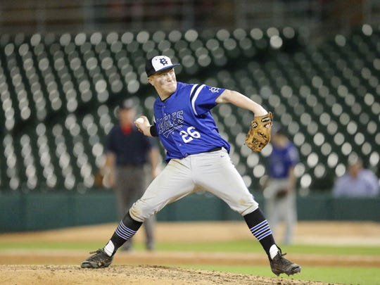 Heritage Christian High School's Austin Crouse pitches during City Championship Game against Cathedral High School at Victory Field, Friday May 13th, 2016. Cathedral was victorious over Heritage Christian.