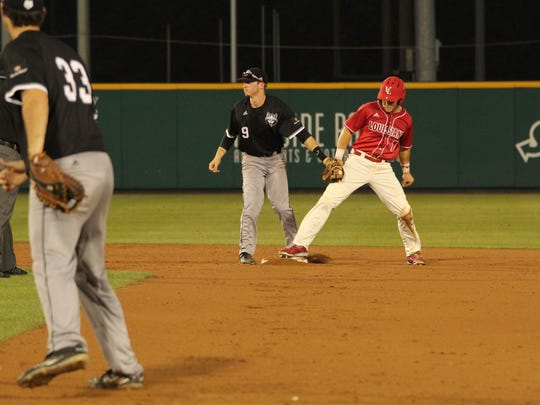 Kyle Clement, shown on base against Arkansas State, hit a three-run homer in the bottom of the 8th inning Wednesday.