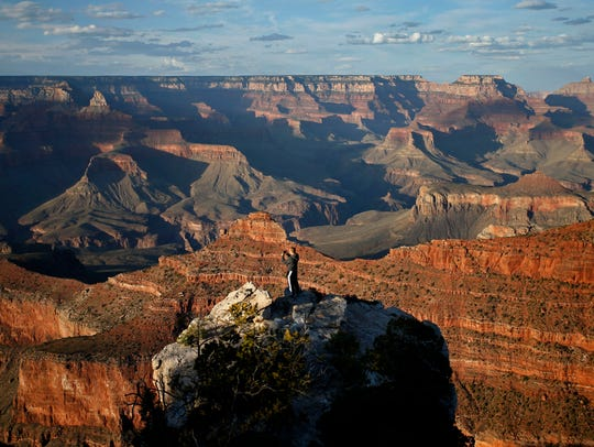 Mather Point, South Rim at the Grand Canyon on Monday,