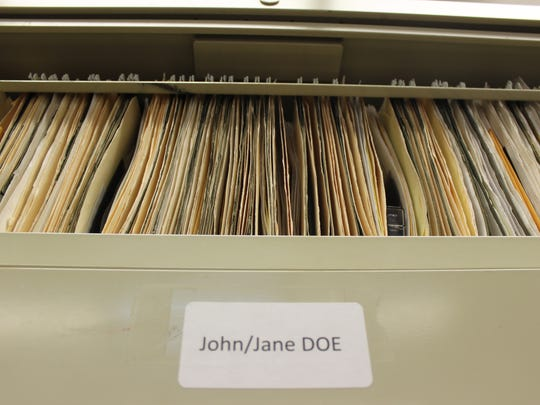 A filing cabinet at the Imperial County Coroner's Office is filled with John/Jane Doe cases.